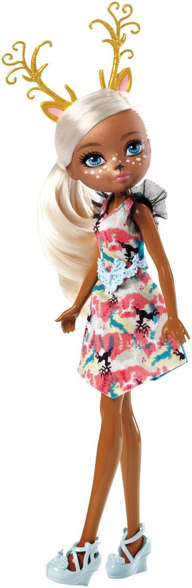Ever After High Кукла ДирлаDHF98_DHG01Кукла Ever After High Дирла - лесная фея из серии Игры Драконов станет отличным подарком для любой девочки. Кукла имеет красивые светлые волосы. Наряд куклы состоит из яркого платья с цветным принтом, пояса и туфелек в тон. Образ дополняют золотые рожки и необычный макияж. Игрушка изготовлена из безопасных нетоксичных материалов и полностью соответствует всем требованиям безопасности.