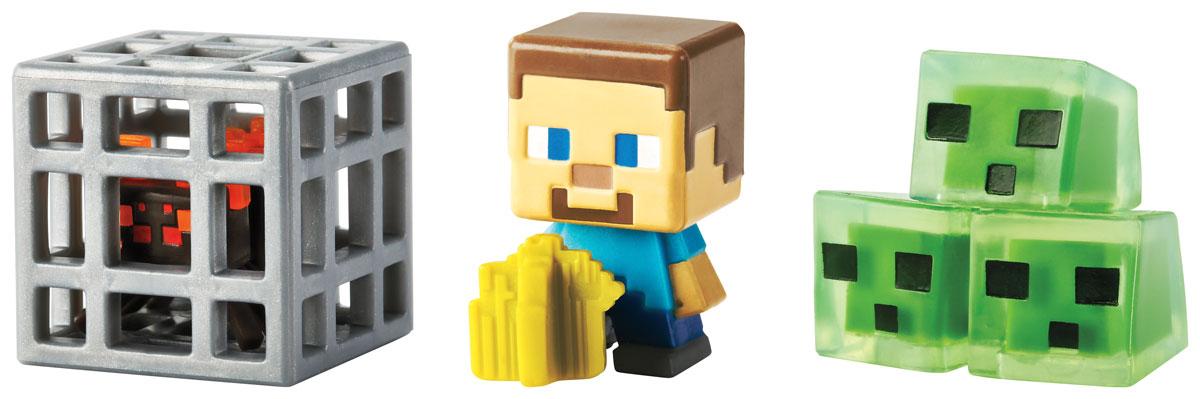 Minecraft Набор фигурок Фермер Стив, Рассадник пауков и Блоки слизиCGX24_DKD56Даже самым увлеченным игрокам иногда приходиться отключаться от компьютера. Теперь можно не расставаться с героями любимой игры, когда компьютер выключен. Набор фигурок Minecraft создан по популярной видеоигре Майнкрафт. В набор входят три фигурки. Все элементы изготовлены из качественного и безопасного материала и стилизованы под персонажей игры. Один из лучших подарков, который можно подарить поклонникам вселенной Майнкрафт.