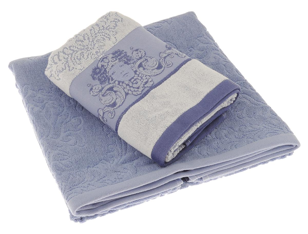 Набор полотенец Togas Изида, цвет: голубой, 2 шт10.00.00.0600Набор полотенец Togas Изида выполнен из смесовой ткани - модала 35%, с добавлением 65% хлопка с плотностью ткани 600 г/м2. В набор входит два полотенца необыкновенно мягких и нежных, которые не вызывают раздражений при контакте с кожей и обладают высоким впитывающим эффектом. На изделиях гармонично сочетаются орнамент Дамаск и бордюр с изображением богини Изиды. Изделия не требует особого ухода, не усаживаются и не теряют форму, сохраняют все свойства даже после многократных стирок, практически не меняют цвет, не выцветают и не линяют. Такой комплект полотенец украсит собой любую ванную комнату, а также станет подарком к любому торжеству.