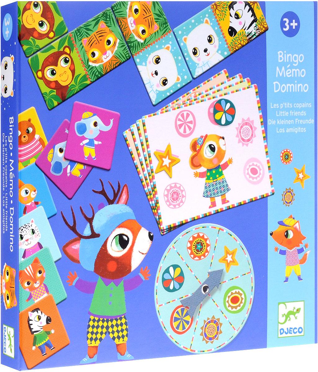 Djeco Набор обучающих игр Бинго мемо домино08131Набор обучающих игр Djeco Бинго, мемо, домино - прекрасный игровой набор из трех игр, с которыми ребенок будет развивать логику и наблюдательность. В комплект входят карточки для трех настольных игр: 28 карточек для игры в домино, 29 карточек для игры в бинго и 32 карточки для игры в мемо. В детском домино малыш должен будет подобрать карточку с соответствующим изображением животного. В игре бинго необходимо заполнить фишками карточку. Игра мемо - превосходная игра на логику и память. Набор настольных игр прекрасно подойдет в качестве развлечения для любого детского праздника. Игры развивают логическое мышление, сообразительность и внимательность ребенка, учит его усидчивости и терпению.