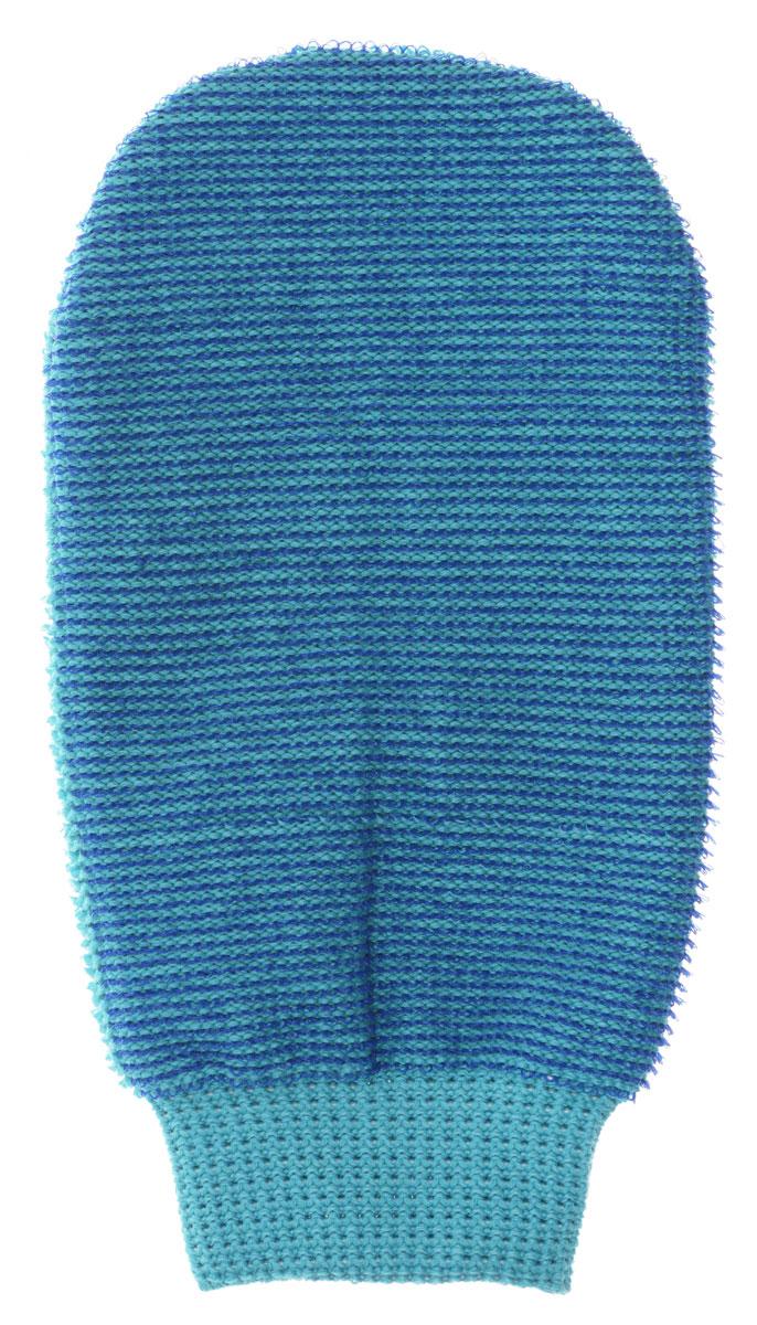 Riffi Мочалка-рукавица массажная, двухсторонняя, цвет: синий, бирюзовый.407407_синий, бирюзовый