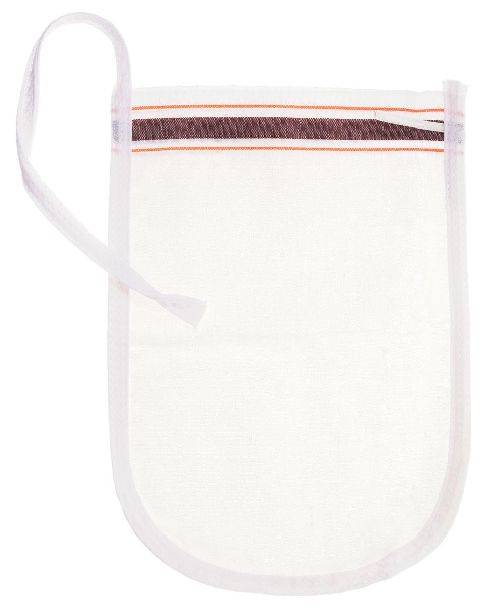 Рукавица для пилинга Riffi, щелковая, тонкая , цвет: белый, коричневый.910910_бел, корич.