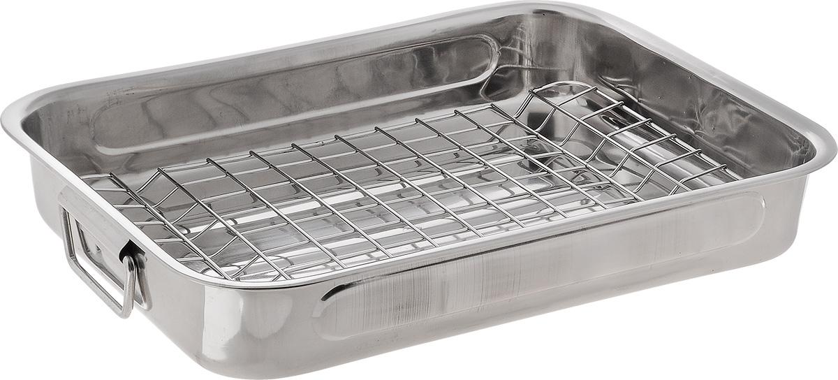 Противень SSW, с решеткой, 35 х 26 см471135Прямоугольный Противень SSW изготовлен из нержавеющей стали. Изделие оснащено съемной решеткой и ручками по бокам. В таком противне удобно готовить мясо, птицу, овощи, запекать различные блюда. Можно мыть в посудомоечной машине. С таким противнем вы всегда сможете порадовать своих близких здоровой и вкусной едой. Внутренний размер противня: 35 х 25 см. Размер противня: 35 х 26 х 6 см. Размер решетки: 31 х 22 х 1 см.