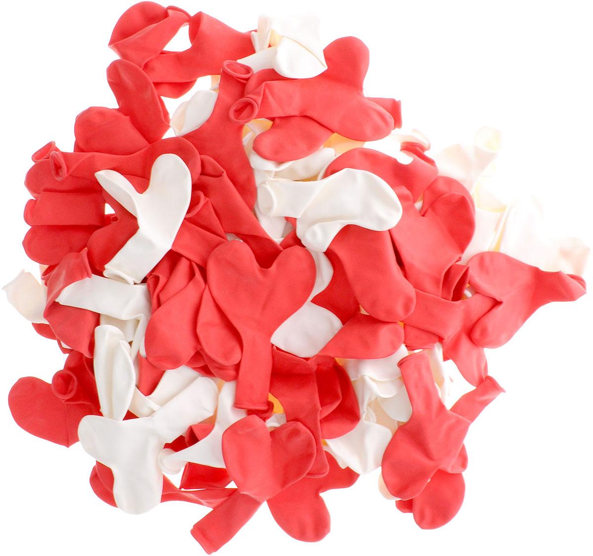 Action! Шары воздушные Сердечки цвет красный белый 100 шт