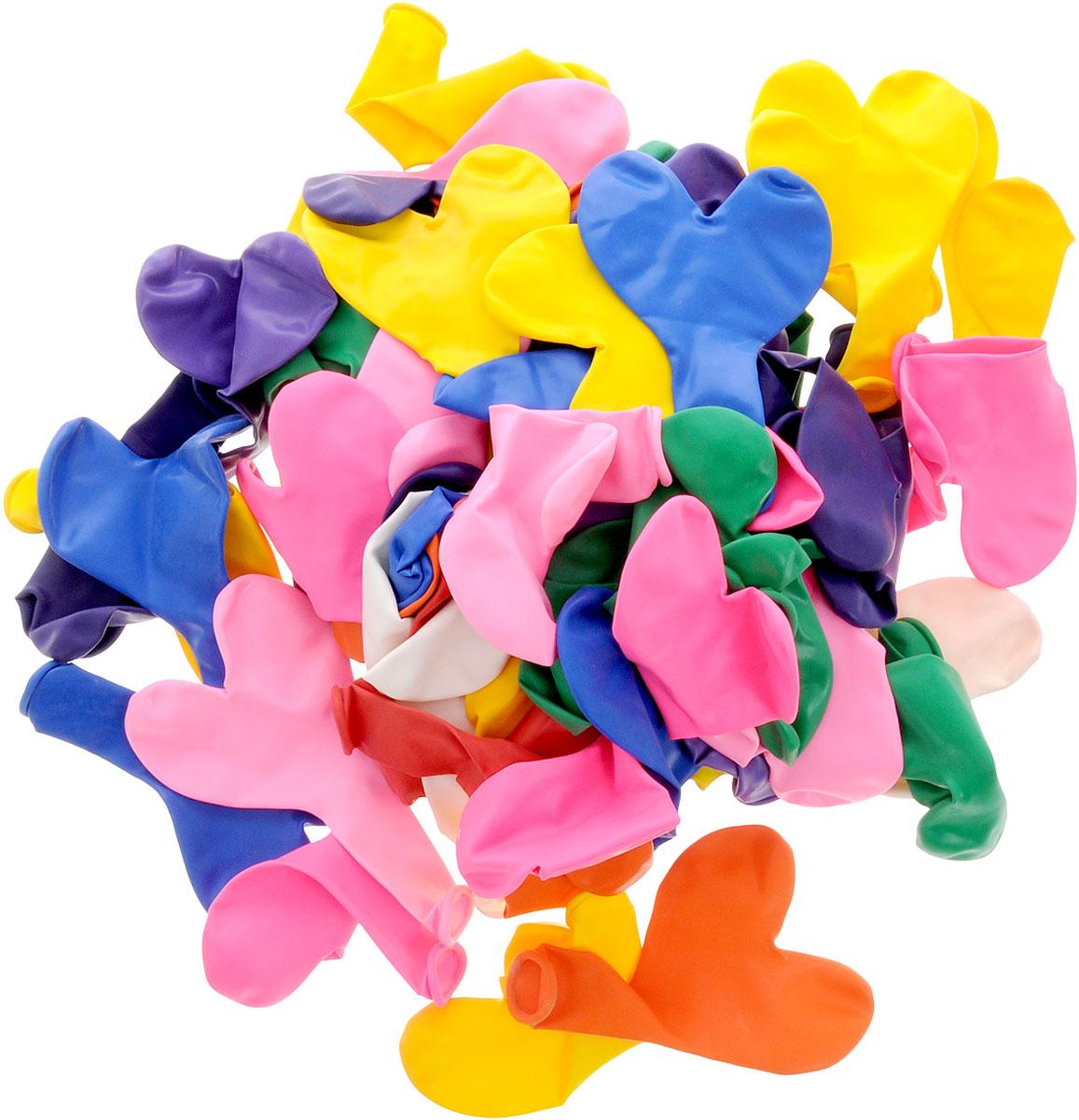 Action! Шары воздушные Сердечки разноцветные 100 шт