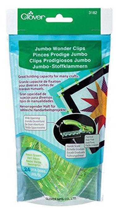 Набор клипс для квилтинга Clover, цвет: светло-зеленый, 24 шт3182Набор Clover состоит из 24 клипс и изготовлен из металла и пластика. Изделия предназначены для закрепления краев при работе квилтингом или пэчворгом. Такие клипсы помогут вам во многих случаях, не делать лишнюю наметку или сметку деталей. Можно на всех строчках, заколоть нужный участок работы, а потом легко отколоть. Длина: 6 см. Ширина: 1,5 см. Комплектация: 24 шт.