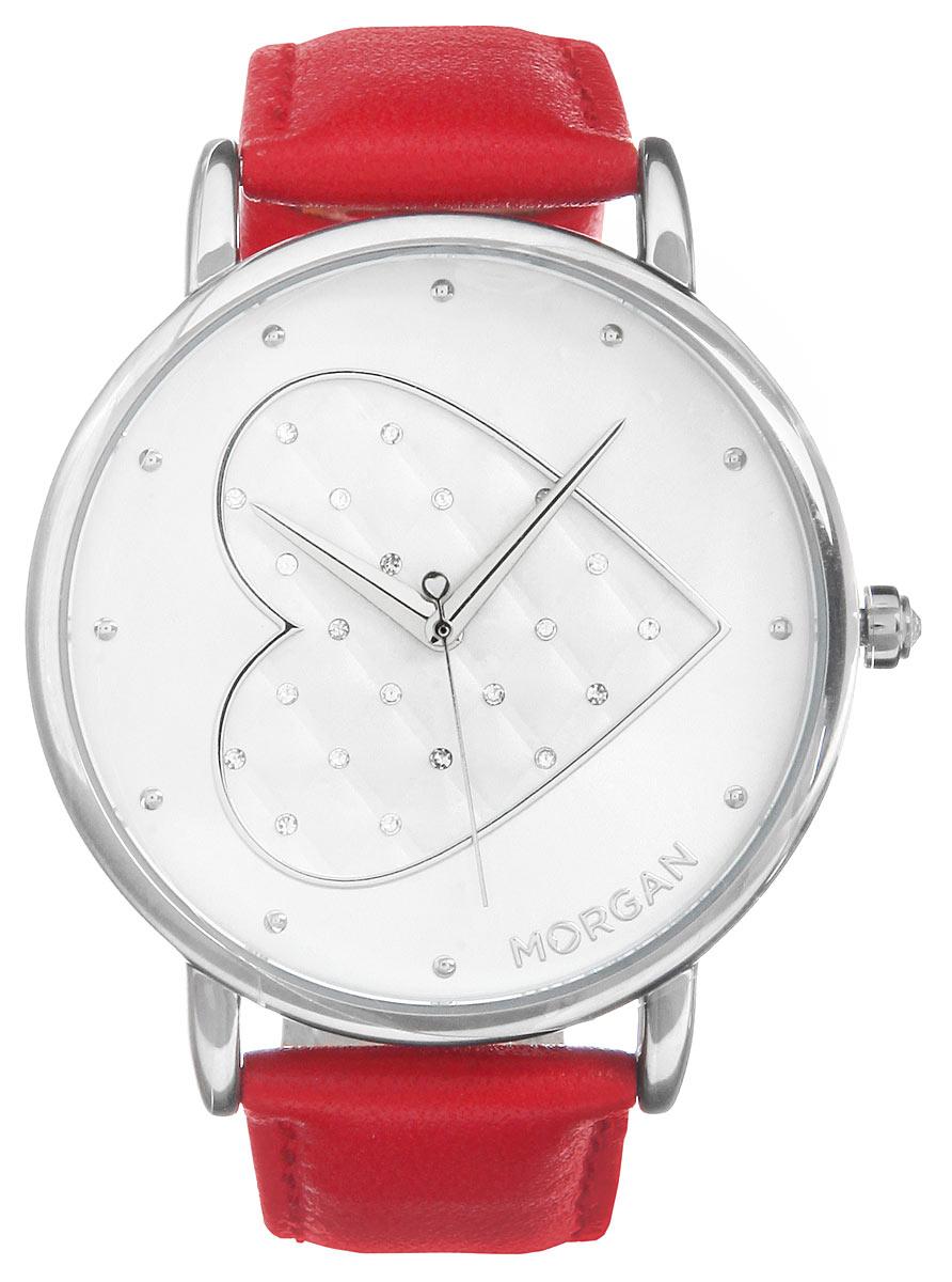 Часы наручные женские Morgan, цвет: серебристый, красный. M1241RM1241RОригинальные женские часы Morgan выполнены из металлического сплава, натуральной кожи и минерального стекла. Циферблат изделия дополнен символикой бренда и чешскими кристаллами. Корпус часов оснащен кварцевым механизмом, имеет степень влагозащиты равную 3 atm, а также дополнен устойчивым к царапинам минеральным стеклом. Ремешок часов оснащен классической пряжкой, которая позволит с легкостью снимать и надевать изделие. Часы поставляются в фирменной упаковке. Часы Morgan подчеркнут изящность женской руки и отменное чувство стиля у их обладательницы.