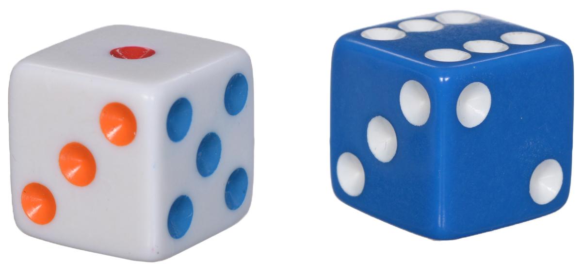 Koplow Games Набор игральных костей Простые D6 цвет белый синий 2 шт