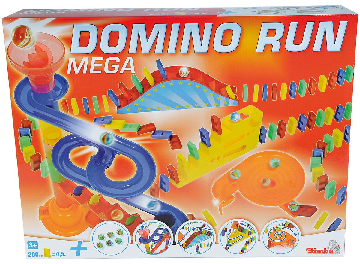 Simba Настольная игра Домино Мега6065647Настольная игра Simba Домино Мега - это прекрасная, увлекательная игрушка для детей от трех лет. Это не привычное нам домино, суть игры совсем другая: теперь нужно в определенном порядке и особым способом выложить домино, собрать конструкцию из труб и запустить шарики. Каждый из шариков будет сбивать домино. В этом ярком наборе 200 деталей. Все составляющие выполнены из качественного, а главное безопасного для ребенка материала - пластика. Настольная игра Simba Домино Мега соберет вокруг себя большую компанию!