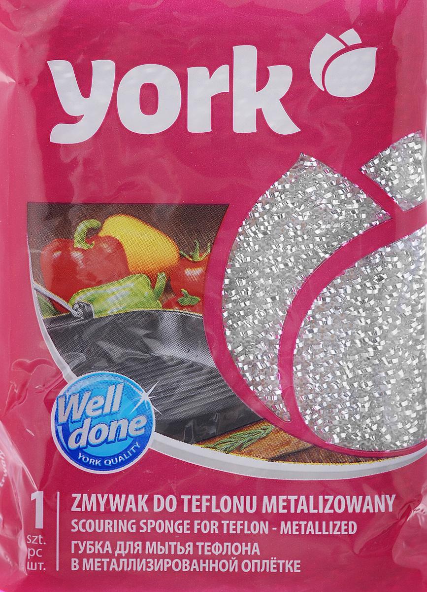 Губка для тефлона York Лиза, цвет: серебряный3202_серебряныйГубка York Лиза изготовлена из поролона в чехле из полипропиленовой металлизированной нити. Предназначена для мытья посуды и очистки сильно загрязненных кухонных поверхностей. Удобна в применении. Позволяет экономить моющее средство, благодаря структуре поролона, который дает много пены при использовании. Подходит для мытья тефлона. Размер губки: 11 х 7 х 3 см.