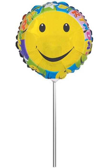 Action! Шар фольгированный на палочке СмайликAPI0219Фольгированный шар Смайлик станет замечательным украшением праздника и веселой игрушкой для малыша. Яркий круглый шар с надписью Happy Birthday, может стать прекрасным дополнением к подарку на день рождения! С помощью этого аксессуара любая вечеринка останется незабываемой! Шар дополнен пластиковой палочкой и держателем. Изделие поставляется не надутым.