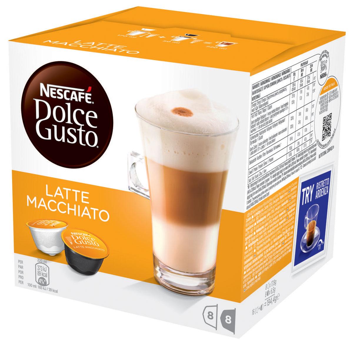 Nescafe Dolce Gusto Latte Macchiato кофе в капсулах, 16 шт5219838Nescafe Dolce Gusto Latte Macchiato – перевернутый вверх дном латте с небольшой изюминкой. Великолепный, мягкий, со сладковатыми оттенками, капсульный Latte Macchiato превращается в удивительный напиток, который будет восхищать вас каждый раз. Молоко цвета бисквита в качестве нижнего слоя, переходящее в более темный слой кофе, создаст атмосферу настоящего праздника. Latte Macchiato с итальянского переводится как подкрашенное молоко. Эспрессо наливается поверх молока, создавая своеобразный слоистый узор, который ни с чем не спутаешь, и затем переходит в изысканную молочную пену. Latte Macchiato украшается элегантной темной кофейной точкой в качестве легко узнаваемой подписи. Вам не нужно далеко ходить, чтобы выпить такой красивый и вкусный кофе, потому что ваша кофемашина Nescafe Dolce Gusto способна создать напиток на уровне кофейни прямо у вас на кухне. Latte Macchiato поможет вам насладиться минутами для себя или же вызовет восхищение в компании ...