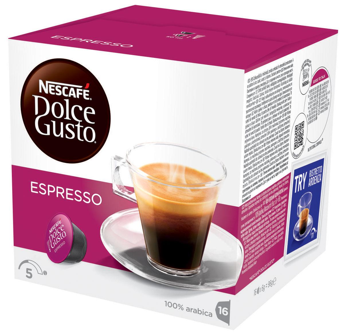 Nescafe Dolce Gusto Espresso кофе в капсулах, 16 шт5219839Крепкий аромат и насыщенный вкус кофе с бархатистой пенкой – изумительное впечатление от Эспрессо. Кофе в капсулах Nescafe Dolce Gusto Espresso – это самый классический вкус. Идеальный напиток для любого времени суток, будет ли чашечка эспрессо прекрасным дополнением к завтраку или завершением ужина с друзьями.