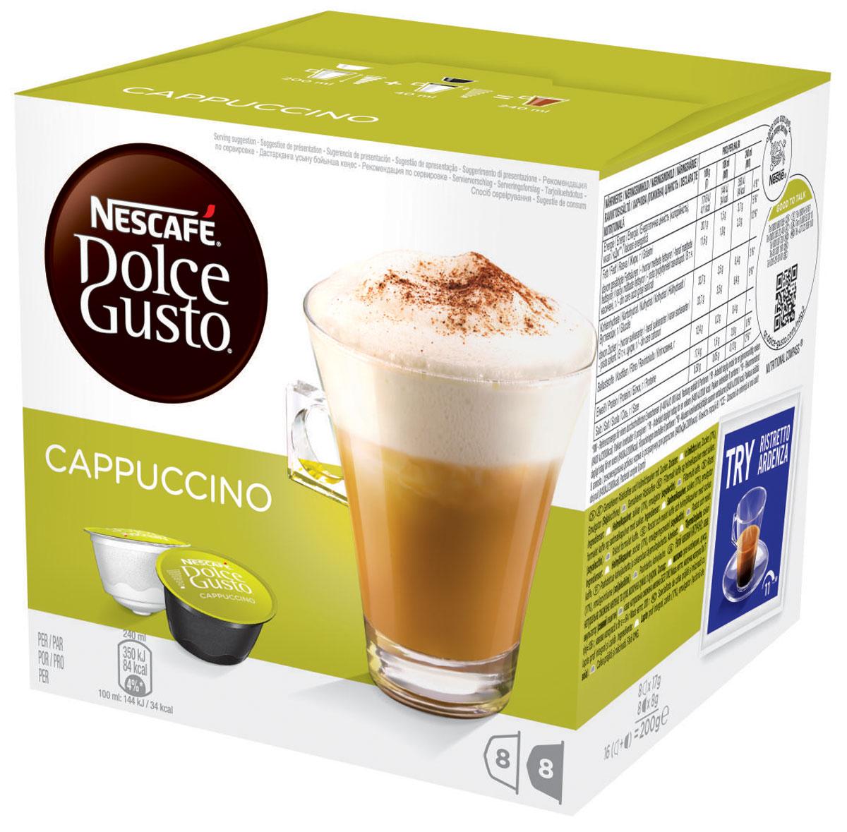 Nescafe Dolce Gusto Cappuccino кофе в капсулах, 16 шт5219849Несомненный образец классика – великолепный капучино всегда в фаворе у всех любителей кофе. Глубокий вкус эспрессо в сочетании с бархатистой пеной и фактурным молоком делают этот напиток великолепным удовольствием снова и снова, по какому бы случаю его ни пили. Гармония темного обжаренного кофе и молока означает, что вам просто нечего добавить в это великолепный напиток. Менее молочный, чем латте, но более воздушный, чем эспрессо... Мягкая текстура капучино – это то, что вы не сможете забыть, если хоть раз попробуете его. Идеальный капучино многослоен, но расслабляет, он легко пьется, а температура как раз позволяет сохранить незабываемый вкус. Благодаря этому он стал основным напитком в коллекции капсул для любого владельца кофемашины Nescafe Dolce Gusto: популярный среди друзей и близких и абсолютно идеальный для отдыха и расслабления, когда вам нужен перерыв. В состав входят: 8 капсул с натуральным жареным молотым кофе 8 капсул с...
