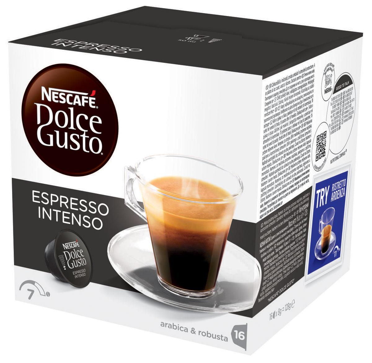Nescafe Dolce Gusto Espresso Intenso кофе в капсулах, 16 шт12045793Если вы любите выпить чашечку эспрессо после ужина, вам понравится и капсульный эспрессо Intenso из кофе средней прожарки. Intenso обладает изысканным ореховым ароматом, который добавляет дополнительную изюминку в вашу чашку. Теплая пряность и намеки на спелые летние фрукты придают этому капсульному кофе изысканную сложность с великолепным вкусом, подходящим для любого времени суток. Благодаря максимальному давлению до 15 бар в кофемашинах Nescafe Dolce Gusto, эти капсулы не только создают вкусный эспрессо, но и оформляют ваш напиток аппетитным слоем пенки. Шелковая пенка медового цвета дополняет великолепный вкус вашего Intenso из капсулы эспрессо с самого первого глотка. Восхитительные ароматы миндаля и вишни делают эспрессо Intenso идеальным для смакования после ужина с друзьями или просто как приятный способ отвлечься от забот.