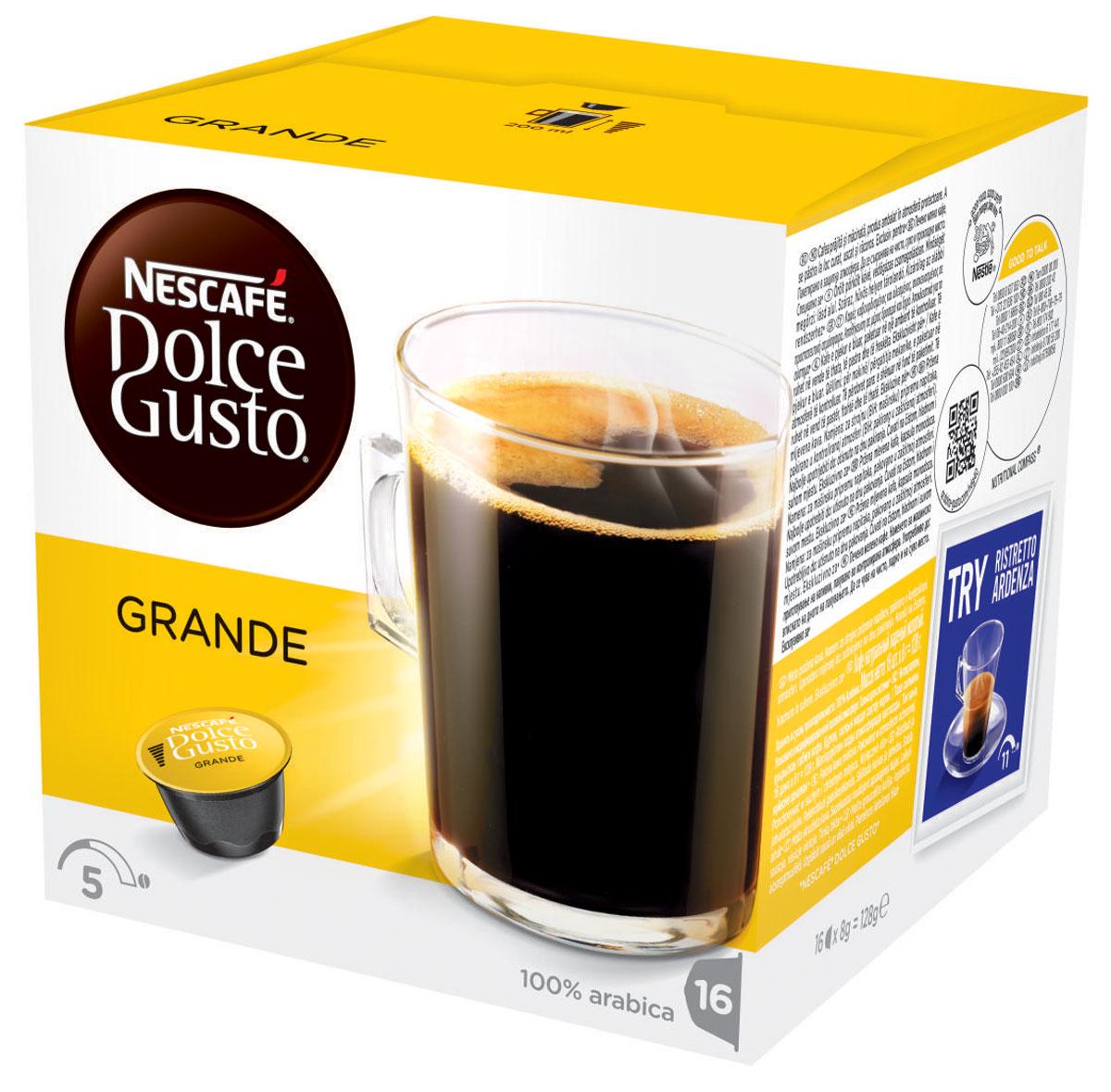 Nescafe Dolce Gusto Grande кофе в капсулах, 16 шт12120090Слегка более насыщенный Nescafe Dolce Gusto Grande – это следующий шаг от классического американо. Мягкий и, безусловно, доставляющий удовольствие, капсульный гранде изготовлен из 100% зерен Арабики средней прожарки и идеально подходит как для первой утренней чашки, так и для употребления в течение дня.