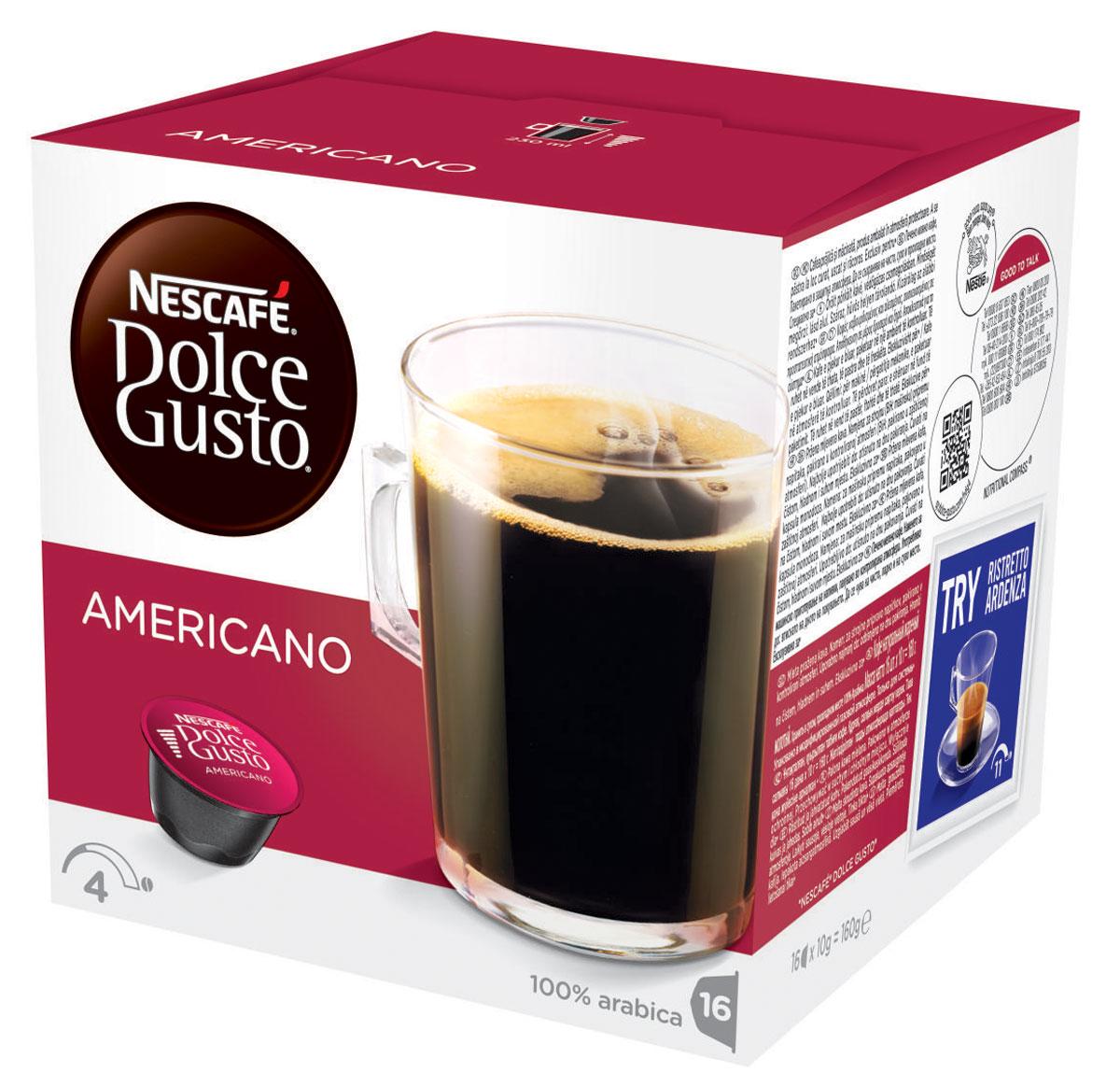 Nescafe Dolce Gusto Americano кофе в капсулах, 16 шт12115461Nescafe Dolce Gusto Americano – просто обжаренный и перемолотый кофе, но это не должно вводить вас в заблуждение. Это стильная мягкая композиция, которой можно наслаждаться в любое время дня. Приготовленный из отборных обжаренных кофейных зерен американо можно подавать с молоком или без него, чтобы получить вкус свежеприготовленного кофе в любом виде, который вам нравится. Легкая прожарка простого, но надежного купажа из 100% зерен Арабики делает капсульный кофе американо чуть менее насыщенным, чем лунго или гранде, но все еще с тем же вкусом из кофейни, который вы любите. Идеальный для удачного начала дня, подавайте его в большой чашке, чтобы полностью насладиться ароматом.