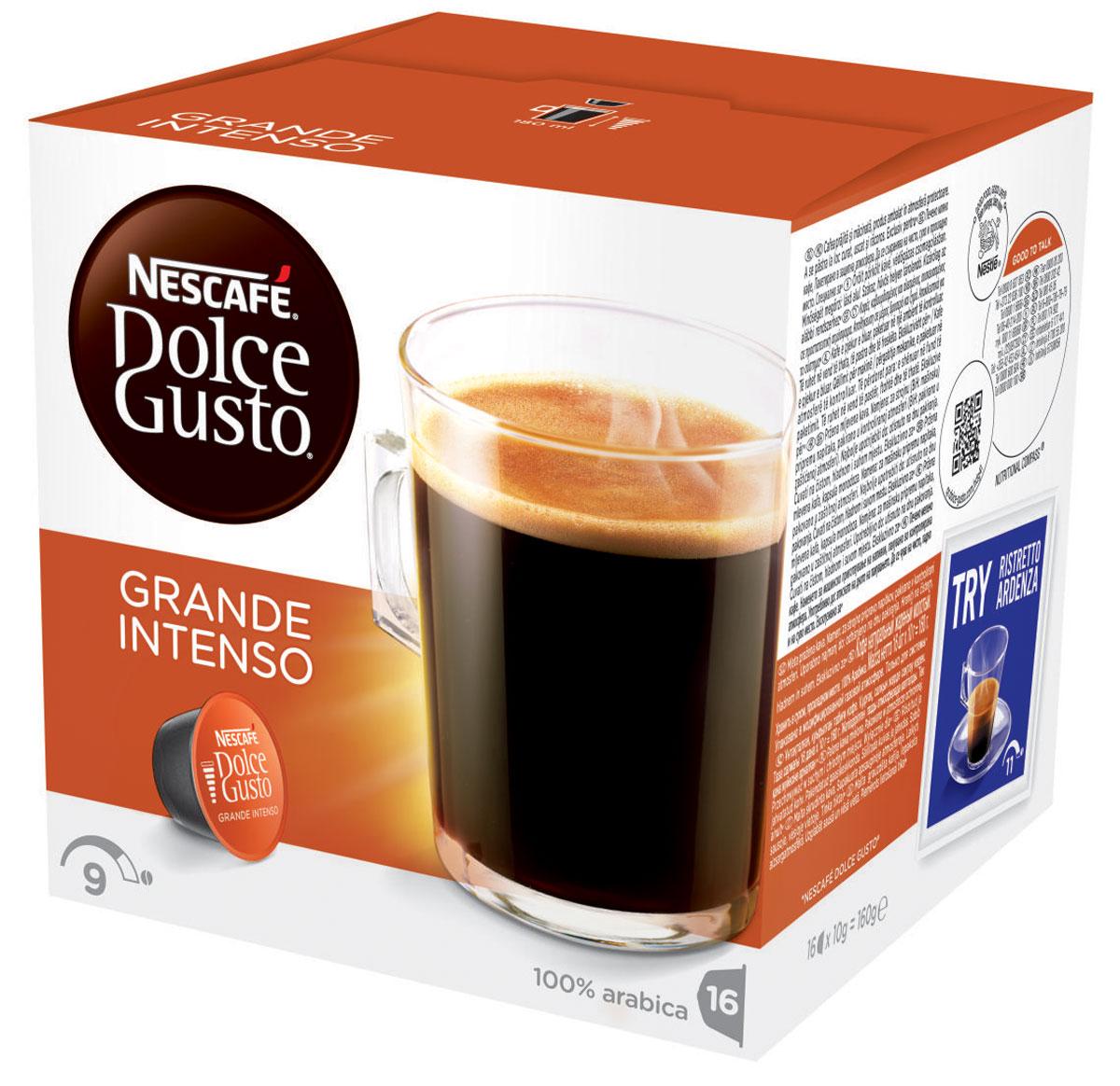 Nescafe Dolce Gusto Grande Intenso кофе в капсулах, 16 шт12128828Grande Intenso абсолютно соответствует названию – классический гранде с более насыщенной горчинкой. Приготовленный из зерен Арабики, изысканно контрастный и полноценный – этот хорошо сбалансированный, но никогда не слишком крепкий напиток создан для приготовления в кофемашине Nescafe Dolce Gusto. Слой ароматной пенки, словно последний штрих, создает простой на вид гранде со сложным вкусом. Изготовленный из 100% зерен Арабики, он великолепно подходит для завтрака, или как основной напиток для посиделок, или для спокойного времяпрепровождения в одиночестве. Будет ли это первая чашка кофе с утра или в любое время в течение дня, капсульный кофе гранде Intenso всегда бьет в цель. Нет необходимости идти в кофейню, чтобы насладиться этим великолепным вкусом.
