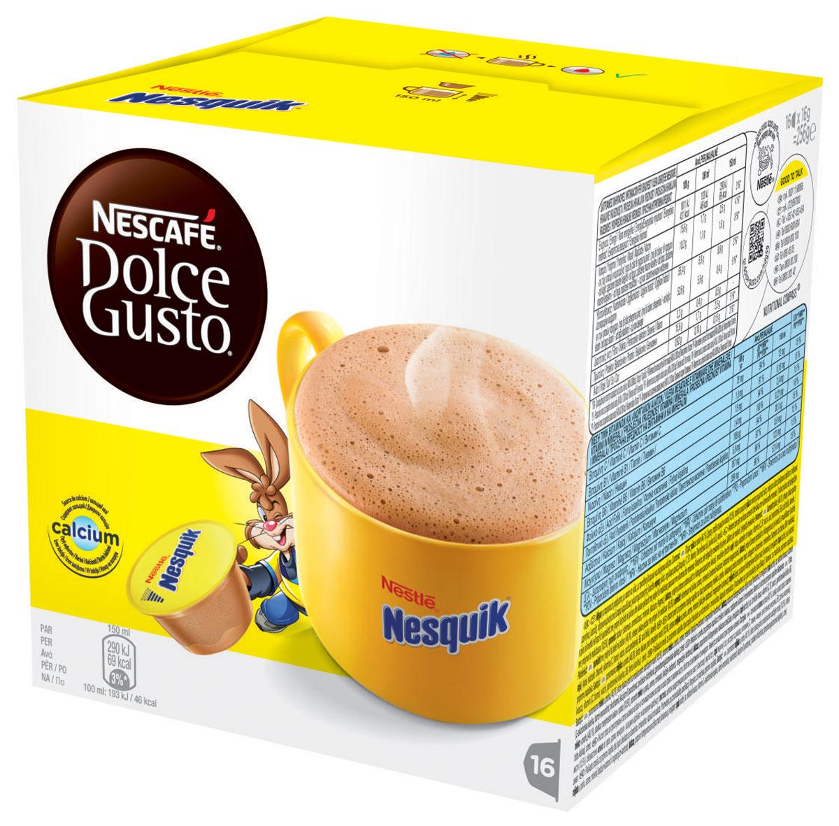 Nescafe Dolce Gusto Nesquik какао в капсулах, 16 шт12142996Нет ничего лучше чашечки ароматного согревающего шоколадного напитка Nescafe Dolce Gusto Nesquik. Насладитесь вкуснейшим напитком - неважно, готовите ли вы его ребенку или сами желаете на миг вернуться в мир детства. Кролик Квики мгновенно наполнит вашу чашку горячим ароматным какао-напитком. Состав капсулы: молоко сухое цельное (46,1%), сахар, какао порошок (10,5%), молоко сухое обезжиренное, ароматизаторы, минеральные вещества (карбонат кальция и карбонат магния), соль, экстракт дрожжей, витамины (С, B1, ниацин, пантотеновая кислота, В6, фолиевая кислота), корица.