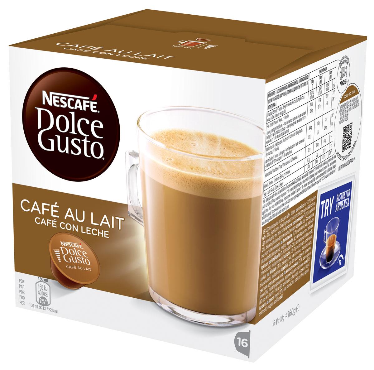 Nescafe Dolce Gusto Кофе О Ле, кофе в капсулах, 16 шт12148061Cafe Au Lait - это непревзойденное сочетание энергии кофе и сладости молока подарит Вам заряд бодрости на целый день! Для приготовления большой чашки Cafe Au Lait достаточно всего лишь одной капсулы. Капсульная система NESCAFE Dolce Gusto это инновационная система приготовления кофе высокого качества специально разработанная для использования в домашних условиях. Герметичные капсулы оптимизируют давление воды для каждого вида кофе. Кофе-машина NESCAFE Dolce Gusto использует профессиональное давление в 15 бар, что каждый раз гарантирует идеальный вкус и качество кофе.