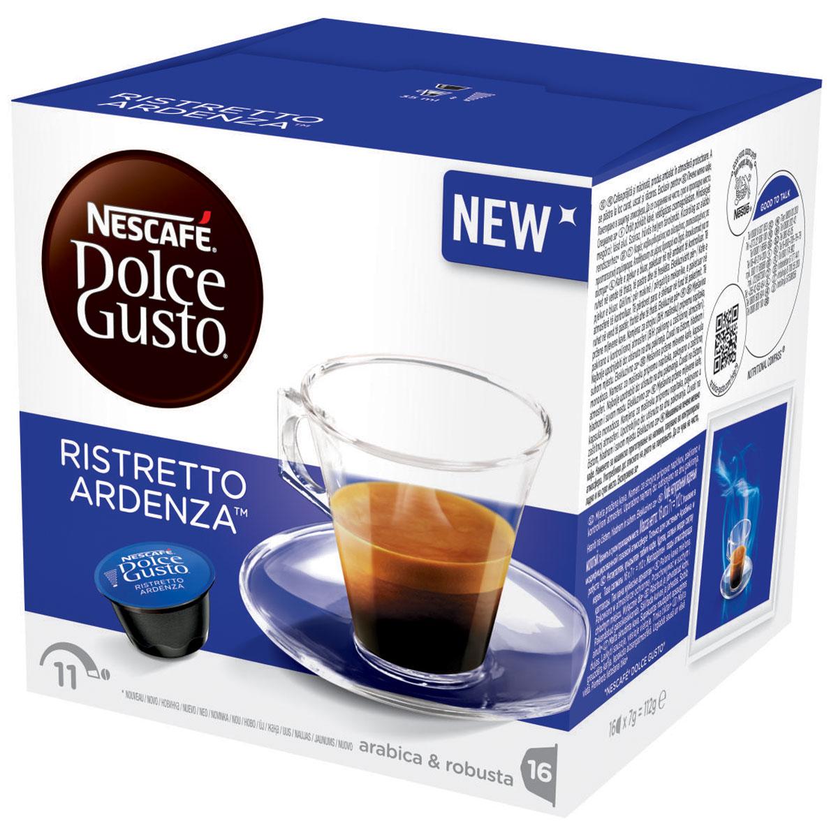 Nescafe Dolce Gusto Ristretto Ardenza кофе в капсулах, 16 шт12245547Темный, насыщенный, с великолепными ароматами лесного ореха и лакрицы, Ristretto Ardenza переводит классический напиток эспрессо на новый уровень. Немного больше Ristretto заваривается с меньшим количеством воды. А это значит, что вы получаете короткий, крепкий эспрессо, обладающий дымчатым ароматом с изысканным перечным послевкусием. Ristretto Ardenza – самый насыщенный капсульный кофе, так что если вам нравится полноценный вкус контрастного эспрессо, это именно то, что вам нужно. Также известный как corto, что на итальянском означает короткий, Ristretto Ardenza определенно доказывает, что хорошего всегда должно быть понемногу. Этот эффектный эспрессо с великолепными древесными нотками и отчетливым вкусом лесного ореха обязательно украшается слоем шелковой пенки. Легкая изысканная пенка карамельного оттенка имеет богатый вкус и доводит качество вашего капсульного кофе до самого высокого уровня, который вы ожидаете от напитка в настоящей кофейне.