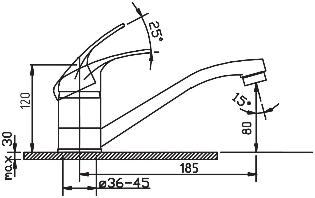 Argo смеситель для кухни Jamaica, короткий излив, 185 мм, d-40