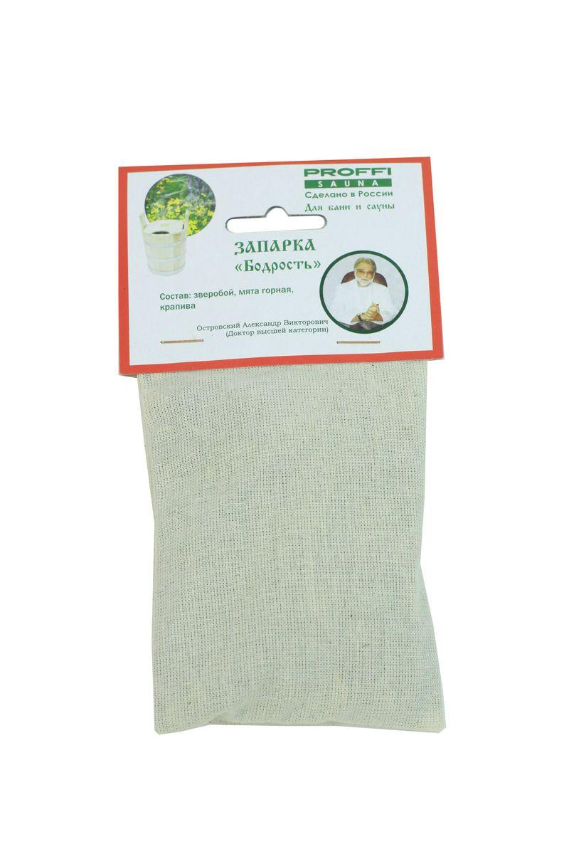 Запарка для бани и сауны Proffi БодростьPS0293Запарка для бани и сауны Proffi Бодрость состоит из трех видов трав: мяты горной, зверобоя, крапивы. Мята обладает дезинфицирующим, стимулирующим и тонизирующим действием. Зверобой борется с заболеваниями органов дыхания, исцеляет подагру, снимает мышечные боли, обладает спазмолитическим действием и очищает все клетки организма. Крапива поможет людям, страдающим радикулитом, ревматизмом, подагрой или же просто поможет при болях в спине и суставах. Русская баня и сауна являются отличным средством для профилактики различных заболеваний. Под влиянием тепла происходит усиление кровообращения, дыхания, обмена веществ, из организма выводятся шлаки и токсины. Размер мешочка: 9 х 9 х 2 см.