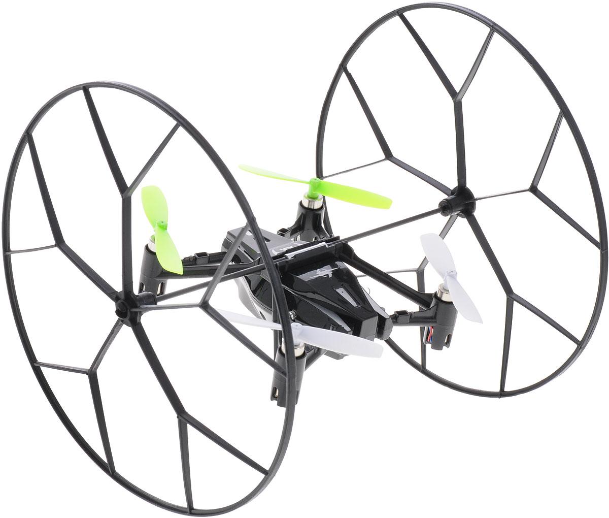 Junfa Toys Квадрокоптер на радиоуправлении Sky Roller1310Квадрокоптер Junfa Toys Sky Roller на радиоуправлении способен вращаться вокруг своей оси на 360 градусов, а также передвигаться вперед/назад, вверх/вниз, поворачивать вправо/влево. Квадрокоптер со светодиодной подсветкой оснащен большими легкими колесами и может передвигаться по полу, потолку и стенам. Он имеет гироскопом для стабильности положения во время полета. Колеса можно заменить на пластиковый защитный каркас и использовать квадрокоптер только для полета. В комплект входит: квадрокоптер, пульт дистанционного управления, защитный каркас, 4 запасных винта, зарядное устройство USB, подробная инструкция на русском языке. Квадрокоптер работает от аккумулятора (входит в комплект). Для работы пульта управления необходимы 4 батарейки типа АА (не входят в комплект).
