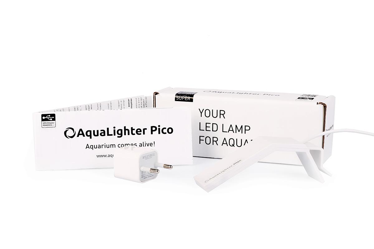Светильник LED AquaLighter Pico, цвет: белый, 10 л, 6500К8770Предназначен для пресноводных аквариумов до 10л. Экономный - потребляемая мощность 1.7 Вт, эффективный - ярче стандартных аквариумных ламп. Идеально подходит для DAQUARIUM. Светильник очень прост в установке и использовании, лучшее решение для содержания креветок и мелких видов рыб, таких как киллифиш, микрорасбор Галактика, петушков и др. в аквариумах сверхмалых объемов. Цвет - белый
