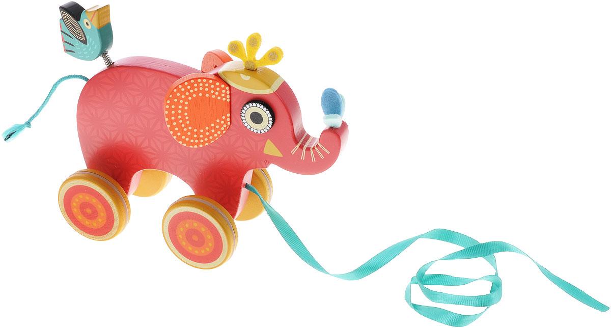 Djeco Игрушка-каталка Слоник Инди06231Деревянная игрушка-каталка Djeco Слоник Инди непременно понравится вашему малышу и подойдет для игры как дома, так и на свежем воздухе. Она выполнена из дерева с использованием нетоксичных красок в виде забавного слоника Инди. Края игрушки закруглены, чтобы избежать травмирования. К слонику на пружинке крепится маленькая птичка, верный спутник Инди. Каталка оснащена четырьмя цветными колесиками с резиновыми вставками. За текстильную ленточку малыш сможет возить игрушку за собой. Игрушка-каталка Djeco Слоник Инди развивает пространственное мышление, цветовое восприятие, ловкость, равновесие и координацию движений.