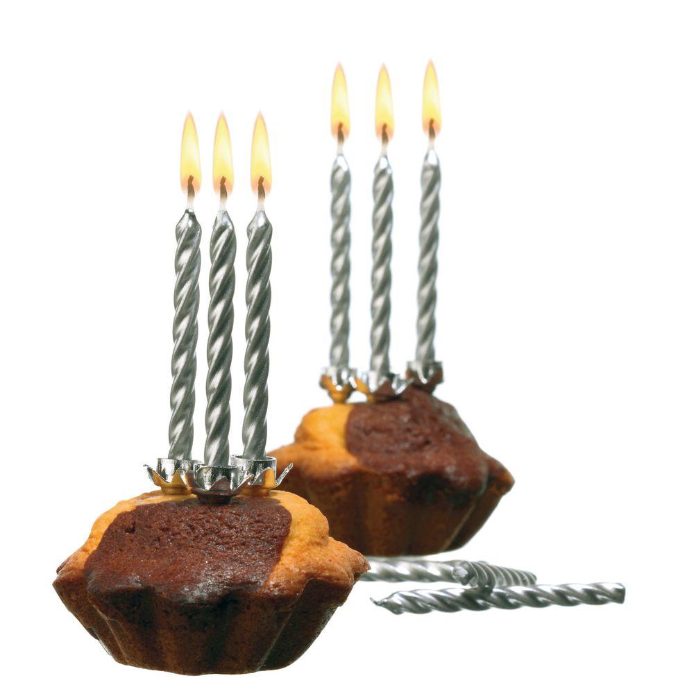 Susy Card Свечи для торта детские цвет серебристый 10 шт