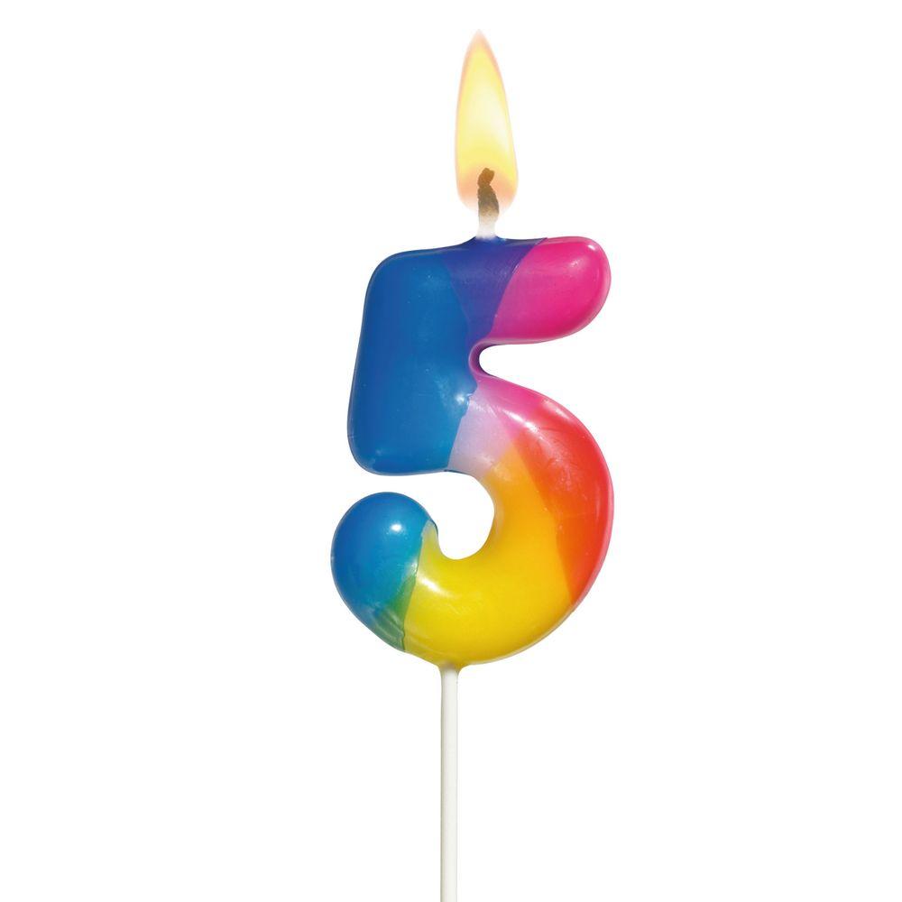Susy Card Свеча-цифра для торта Радужная 5 лет