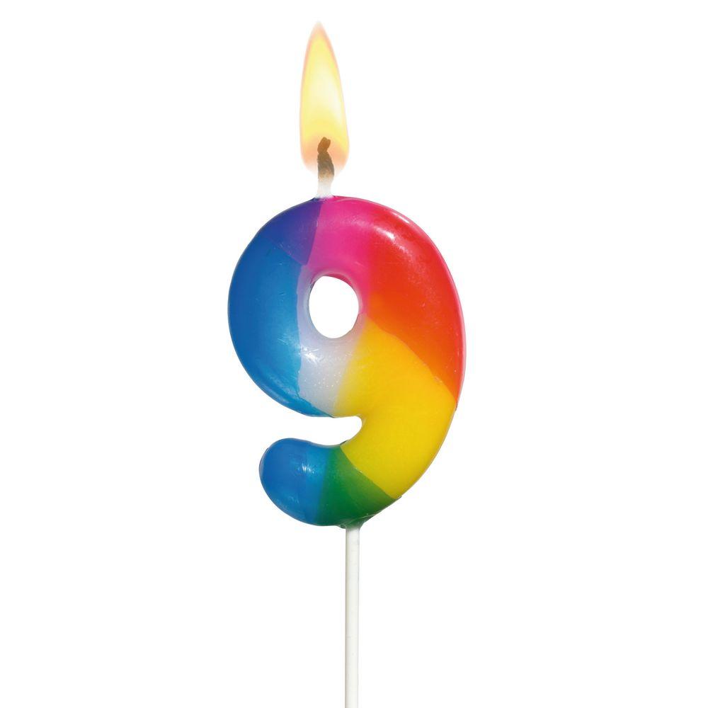 Susy Card Свеча-цифра для торта Радужная 9 лет11348430