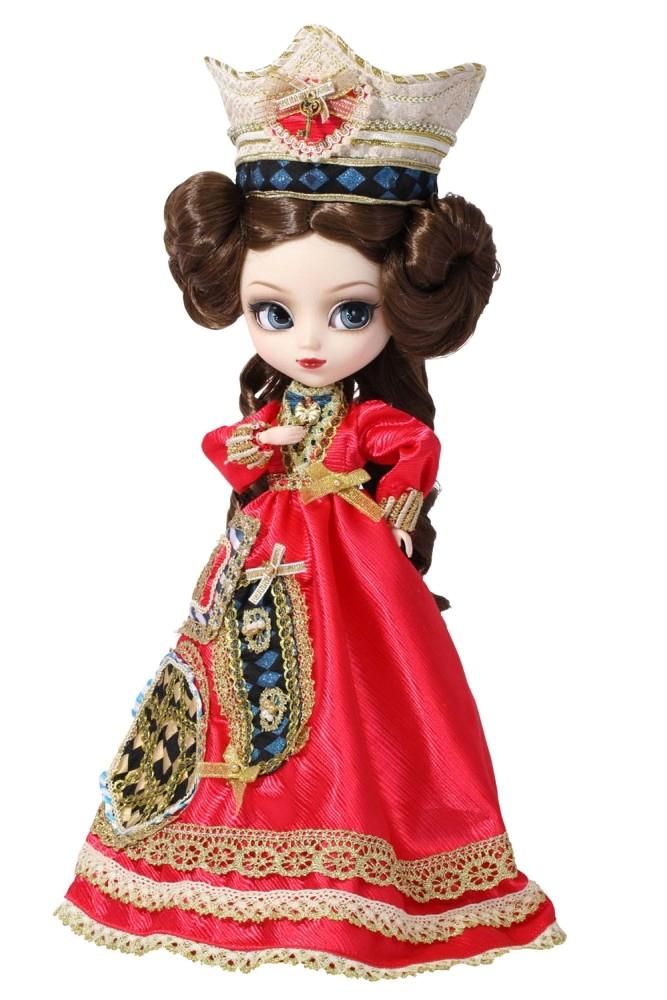 Groove Кукла коллекционная Pullip Классическая КоролеваGRVP118Дизайнерские куклы от японской компании Groove могут похвастаться множеством подвижных шарнирных соединений, своей собственной историей и уникальным внешним видом — каждая кукла из этой серии обладает индивидуальной причёской и макияжем. С помощью специального механизма, расположенного в голове, можно изменять направление взгляда и закрывать глаза. В комплекте: корона, подставка Материал: пластик Высота куклы: 31 см