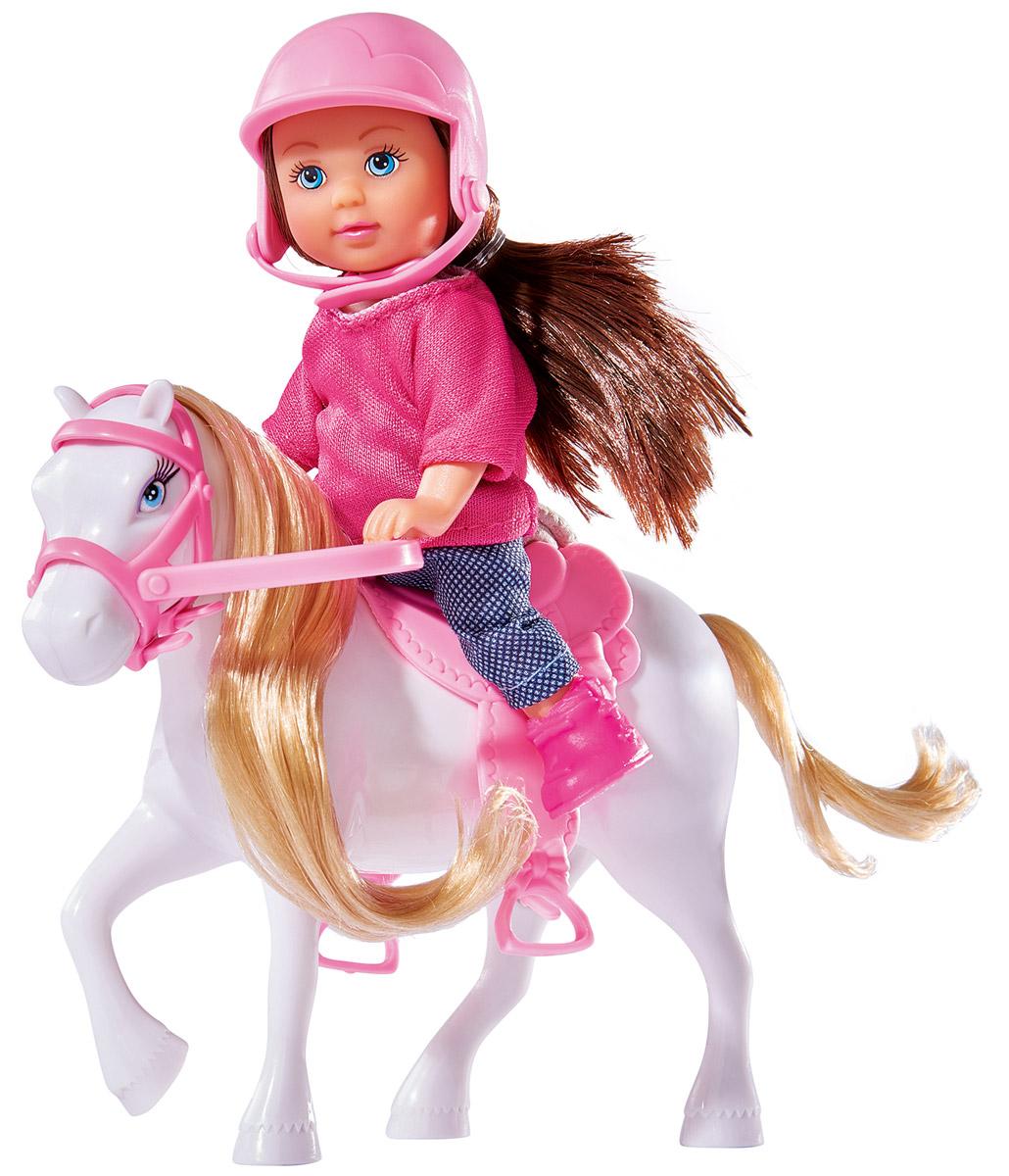 Simba Кукла Еви с пони цвет белый5737464_коричневый,белыйКукла Simba Еви с пони порадует любую девочку и надолго увлечет ее. Малышка Еви собралась на конную прогулку! Она одета в удобную розовую кофточку и синие брюки, на голове у нее - защитная каска. Вашей дочурке непременно понравится заплетать длинные волосы куклы, придумывая разнообразные прически. В комплект входит фигурка пони с седлом и сбруей. Длинную мягкую гриву лошадки можно расчесывать и заплетать. Руки, ноги и голова куклы подвижны, благодаря чему ей можно придавать разнообразные позы. Игры с куклой способствуют эмоциональному развитию, помогают формировать воображение и художественный вкус, а также разовьют в вашей малышке чувство ответственности и заботы. Великолепное качество исполнения делают эту куколку чудесным подарком к любому празднику.