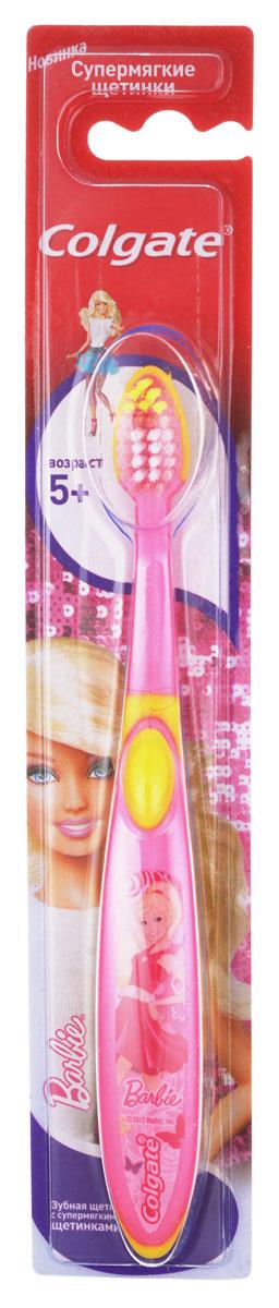Colgate Зубная щетка Smiles для девочки Barbie детская старше 5 лет, цвет розовый, желтый