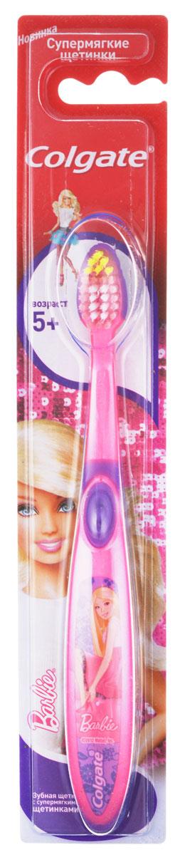 Colgate Зубная щетка Smiles для девочки Barbie детская старше 5 лет, цвет розовый, фиолетовый, барби в платье
