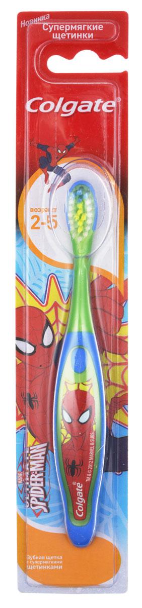 Colgate Зубная щетка для мальчика Spiderman детская от 2 до 5 лет супермягкие, цвет зеленый, синийFCN21742_ зеленый, синий