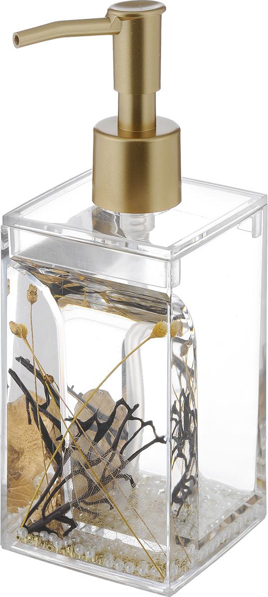 Дозатор для жидкого мыла Vanstore Aurum, 300 мл384-03Дозатор для жидкого мыла Vanstore Aurum, изготовленный из пластика, отлично подойдет для вашей ванной комнаты. Дозатор имеет двойные стенки, между которыми находится прозрачная нетоксичная жидкость с декоративными элементами. Такой аксессуар очень удобен в использовании, достаточно лишь перелить жидкое мыло в дозатор, а когда необходимо использование мыла, легким нажатием выдавить нужное количество. Дозатор для жидкого мыла Vanstore Aurum создаст особую атмосферу уюта и максимального комфорта в ванной. Размер дозатора: 6,5 х 6,5 х 19,5 см. Объем: 300 мл.
