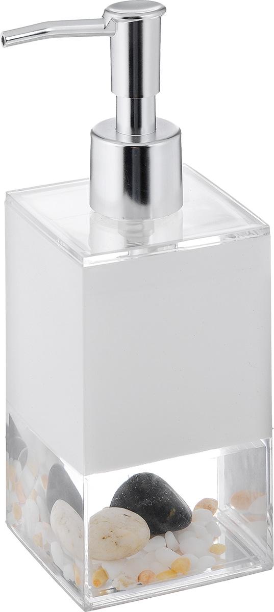Дозатор для жидкого мыла Vanstore Stones, 300 мл383-03Дозатор для жидкого мыла Vanstore Stones, изготовленный из пластика, отлично подойдет для вашей ванной комнаты. Дозатор имеет двойные стенки, между которыми находится прозрачная нетоксичная жидкость с камнями разного размера. Такой аксессуар очень удобен в использовании, достаточно лишь перелить жидкое мыло в дозатор, а когда необходимо использование мыла, легким нажатием выдавить нужное количество. Дозатор для жидкого мыла Vanstore Stones создаст особую атмосферу уюта и максимального комфорта в ванной. Материалы: пластик, нетоксичная жидкость. Размер дозатора: 6,5 х 6,5 см. Высота дозатора: 19,5 см.