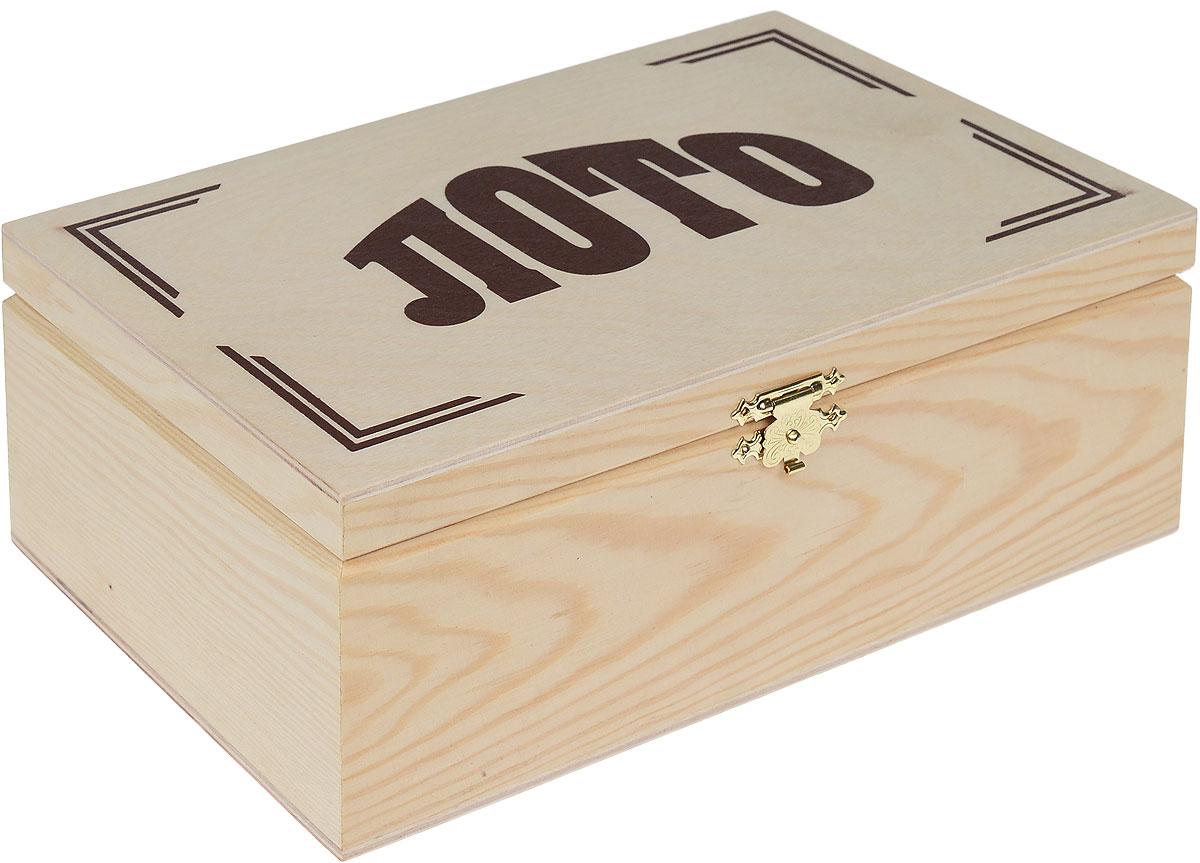Компания Игра Лото3006Настольная игра Русское лото - это традиционная русская игра, о существовании которой знает каждый. Благодаря простым правилам и азарту игра Русское лото завоевала огромную популярность и встала в один ряд с такими развлечениями для большой веселой компании, как домино и карты. В комплект игры входят: 90 деревянных бочонков, на каждом из которых с двух сторон нанесен его номер; непрозрачный мешочек, в котором перед началом игры бочонки тщательно перемешиваются; 24 игровые карточки, состоящие из 3 строк по 9 клеток каждая, в которых в произвольном порядке расположено 15 чисел. Набор упакован в коробку из светлого дерева с металлическим замком-защелкой.