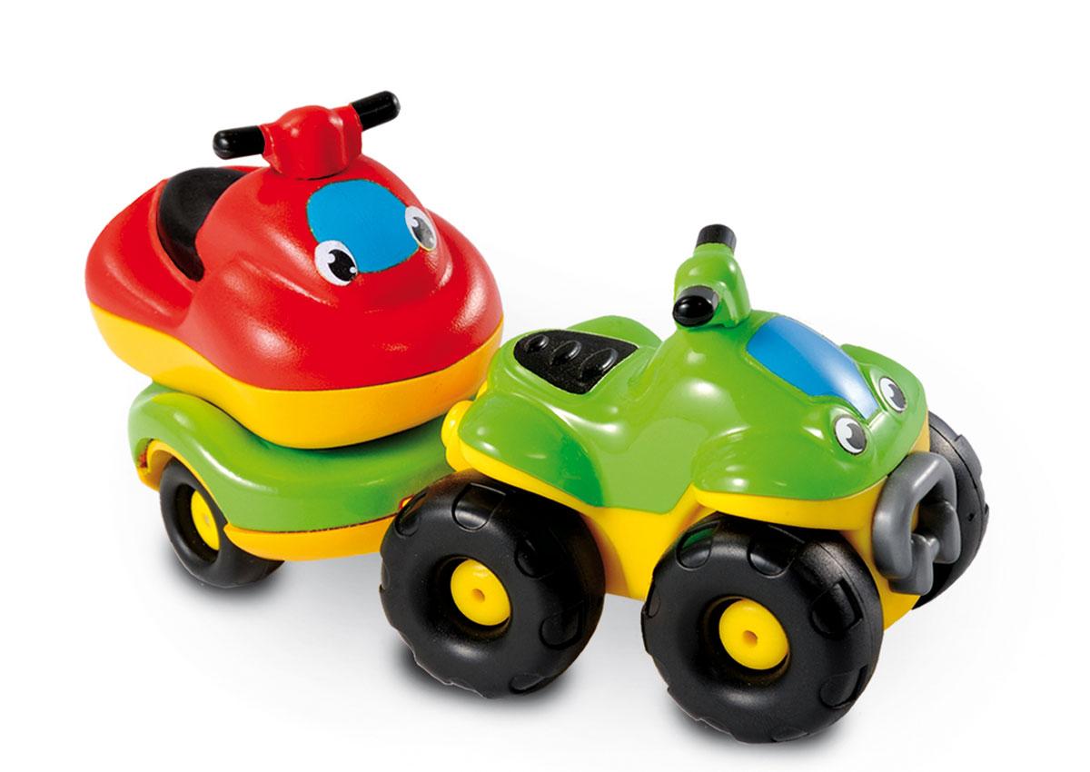 Smoby Квадроцикл с прицепом и гидроциклом211196Квадроцикл Smoby непременно привлечет внимание вашего ребенка. Игрушка выполнена из абсолютно безопасного для малыша высококачественного пластика. В наборе имеется съемный прицеп и гидроцикл. Колеса игрушек крутятся, поэтому они легко катаются по ровной поверхности. Плавные формы без острых углов, яркие цвета и нарисованные глазки - все это выгодно выделяет эту игрушку из ряда подобных. Игра с яркой игрушкой помогает развивать мелкую моторику, цветовое восприятие, координацию движений, а также являются хорошим средством для развлечения ребенка. Порадуйте своего малыша таким замечательным подарком.