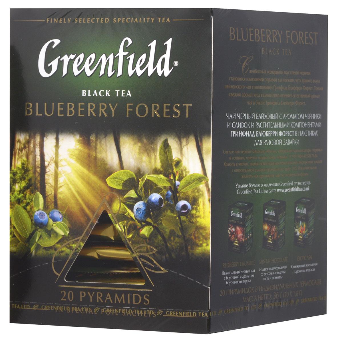 Greenfield Blueberry Forest черный чай в пирамидках, 20 шт0902-08Самобытный северный вкус спелой черники становится изысканной оправой для мягкого, чуть пряного вкуса цейлонского чая в композиции Greenfield Blueberry Forest. Тонкий свежий аромат ягод великолепно оттеняет естественный аромат чая в букете Greenfield Blueberry Forest. Относительная влажность воздуха при хранении не выше 70%.