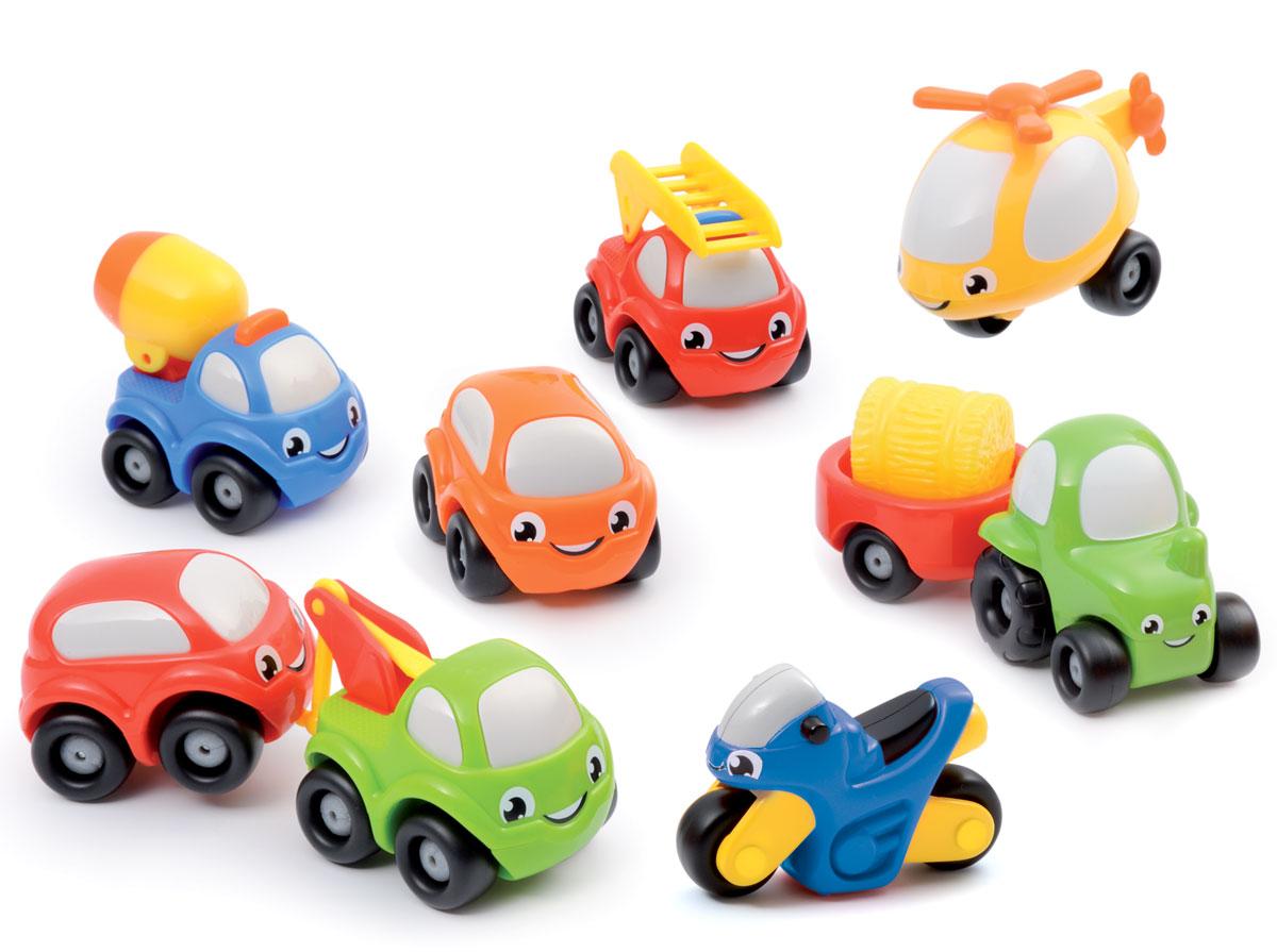 Smoby Набор машинок Vroom Planet 9 шт211330Набор машинок Smoby Vroom Planet обязательно заинтересует вашего малыша! Это маленькие машинки, с забавным дизайном, глазками и ярким оформлением. Такие игрушки нравятся детям и заставляют их активно развиваться. Они отлично ездят, а играть с ними можно как дома, так и на улице. В наборе малыш найдет не только машинки, но и мотоцикл, вертолет и прицеп с грузом. Машинки выполнены из качественного, безопасного пластика. Все машинки легко едут вперед и назад, имеют обтекаемую безопасную форму, без острых углов и мелких деталей. Игры с разноцветными машинками полезны для фантазии, они стимулируют ребенка к действиям и придумыванию, развивают мелкую моторику и тренируют пальчики, улучшают координацию движений.