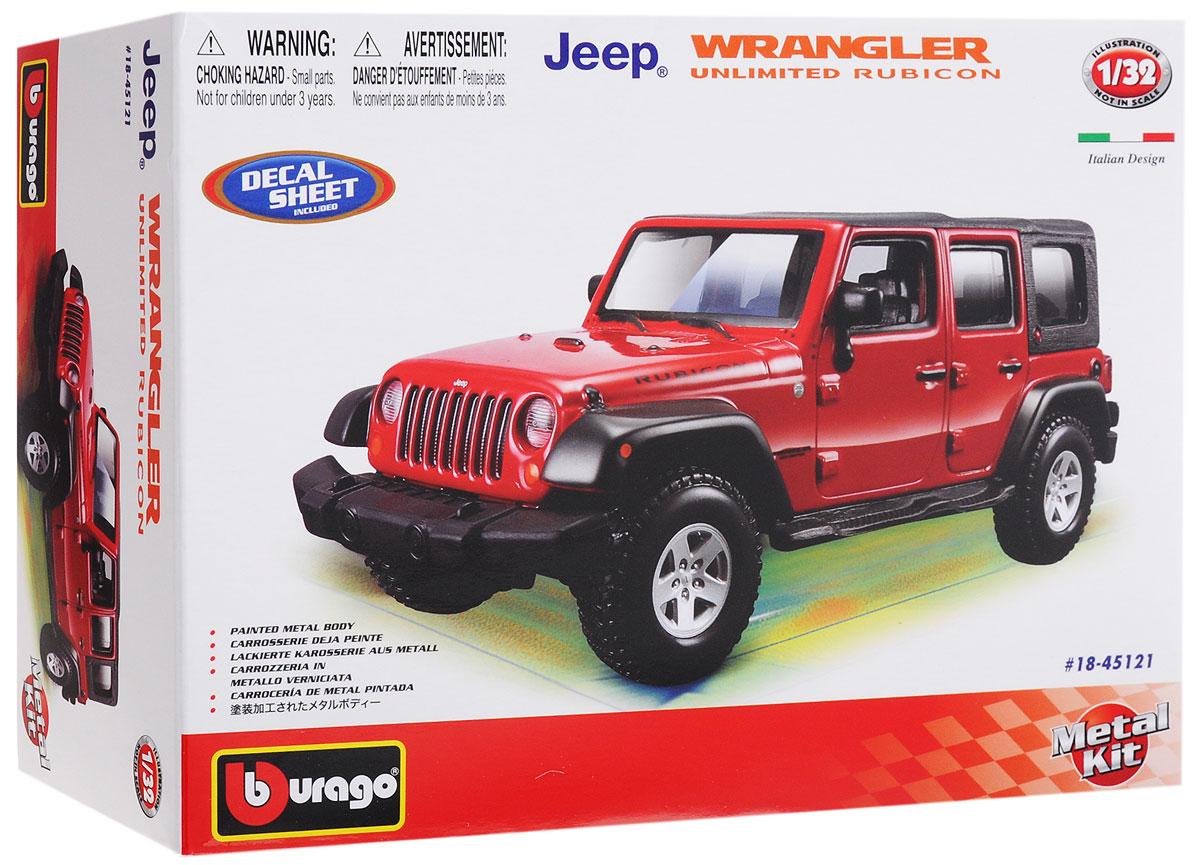 Bburago Сборная модель автомобиля Wrangler Unlimited Rubicon18-45121Сборная модель автомобиля Bburago Wrangler Unlimited Rubicon привлечет к себе внимание не только детей, но и взрослых. Модель представлена в масштабе 1:32 и в точности воспроизводит все детали внешнего облика реального автомобиля. Корпус автомобиля выполнен из металла с использованием пластиковых элементов, колеса прорезинены. Модель оборудована открывающимися дверцами и подвижными колесами. Во время игры с такой машинкой у ребенка развивается мелкая моторика рук, фантазия и воображение. В комплекте: элементы для сборки модели, наклейки и схематичная инструкция по сборке. Модель собирается без использования клея.
