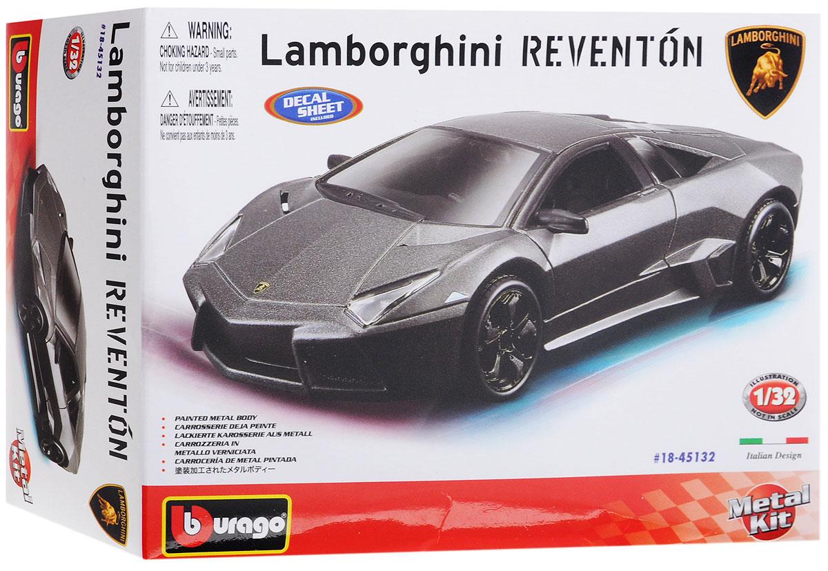 Bburago Сборная модель автомобиля Lamborghini Reventon18-45132Сборная модель автомобиля Bburago Lamborghini Reventon привлечет к себе внимание не только детей, но и взрослых. Модель представлена в масштабе 1:32 и в точности воспроизводит все детали внешнего облика реального автомобиля. Корпус автомобиля выполнен из металла с использованием пластиковых элементов, колеса прорезинены. Модель оборудована открывающимися дверцами и подвижными колесами. Во время игры с такой машинкой у ребенка развивается мелкая моторика рук, фантазия и воображение. В комплекте: элементы для сборки модели, наклейки и схематичная инструкция по сборке. Модель собирается без использования клея.
