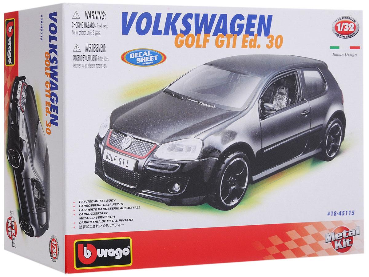 Bburago Сборная модель автомобиля Volkswagen Golf GTI Edition 3018-45115Сборная модель автомобиля Bburago Volkswagen Golf GTI Edition 30 привлечет к себе внимание не только детей, но и взрослых. Модель представлена в масштабе 1:32 и в точности воспроизводит все детали внешнего облика реального автомобиля. Корпус автомобиля выполнен из металла с использованием пластиковых элементов, колеса прорезинены. Модель оборудована открывающимися дверцами и подвижными колесами. Во время игры с такой машинкой у ребенка развивается мелкая моторика рук, фантазия и воображение. В комплекте: элементы для сборки модели, наклейки и схематичная инструкция по сборке. Модель собирается без использования клея.