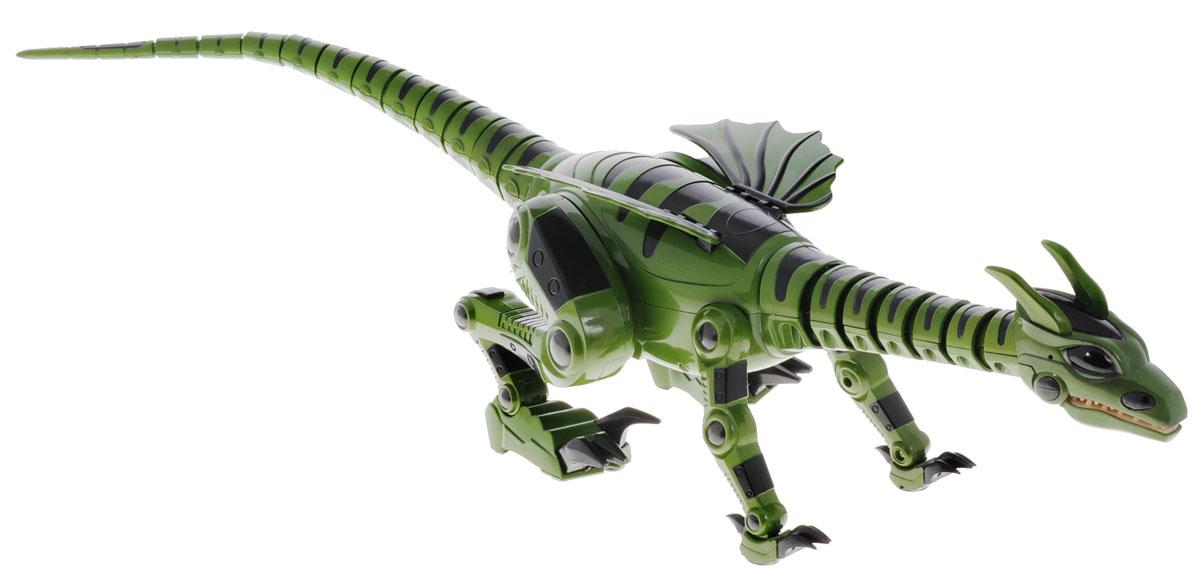 Junfa Toys Игрушка на радиоуправлении Дракон цвет зеленый28109jab_зеленыйИгрушка на радиоуправлении Junfa Toys Дракон привлечет к себе внимание не только детей, но и взрослых. Огнедышащий дракон имеет реалистичную походку рептилии, переключается между прогулочным шагом на 4 лапах и бегом. Умеет прыгать и атаковать. Используя встроенные сенсоры, робот сканирует окружающую обстановку, огибает препятствия. Если дракон услышит шум, он превратится в грозного хищника. Поместите в поле зрения дракона любой предмет, он издаст звук и начнет двигаться. Издайте какой-либо звук, дракон пойдет на ваш голос. Кнопка включения находится под животом дракона. Нажмите на нее, игрушка начнет двигаться, затем потанцует, после чего замрет, и будет ожидать команды. У дракона два основных режима Голоден и Накормлен. Когда дракон Голоден, он ведет себя активно и агрессивно. Нажав кнопку Feed на пульте дистанционного управления, вы Накормите дракона. Накормленный дракон впадает в Спящее состояние. Робот имеет 27 функций, включая ...