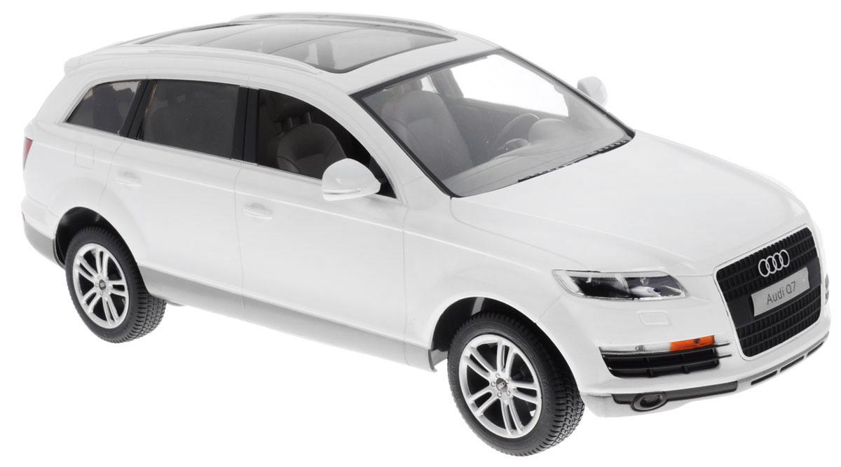Rastar Радиоуправляемая модель Audi Q7 цвет белый масштаб 1:1427400Радиоуправляемая модель Rastar Audi Q7 обязательно привлечет внимание вашего ребенка! Все дети хотят иметь в наборе своих игрушек ослепительные, невероятные и модные автомобили на радиоуправлении. Тем более, если это автомобиль известной марки с проработкой всех деталей, удивляющий приятным качеством и видом. Одной из таких моделей является автомобиль на радиоуправлении Rastar Audi Q7. Это точная копия настоящего авто в масштабе 1:14. Автомобиль обладает неповторимым провокационным стилем и спортивным характером. Потрясающая маневренность, динамика и покладистость - отличительные качества этой модели. Возможные движения: вперед, назад, вправо, влево, остановка. При движении загораются фары и стоп- сигналы. Для работы машины необходимо купить 5 батареек типа АА (не входят в комплект). Для работы пульта управления необходимо купить батарейку типа Крона (не входит в комплект).