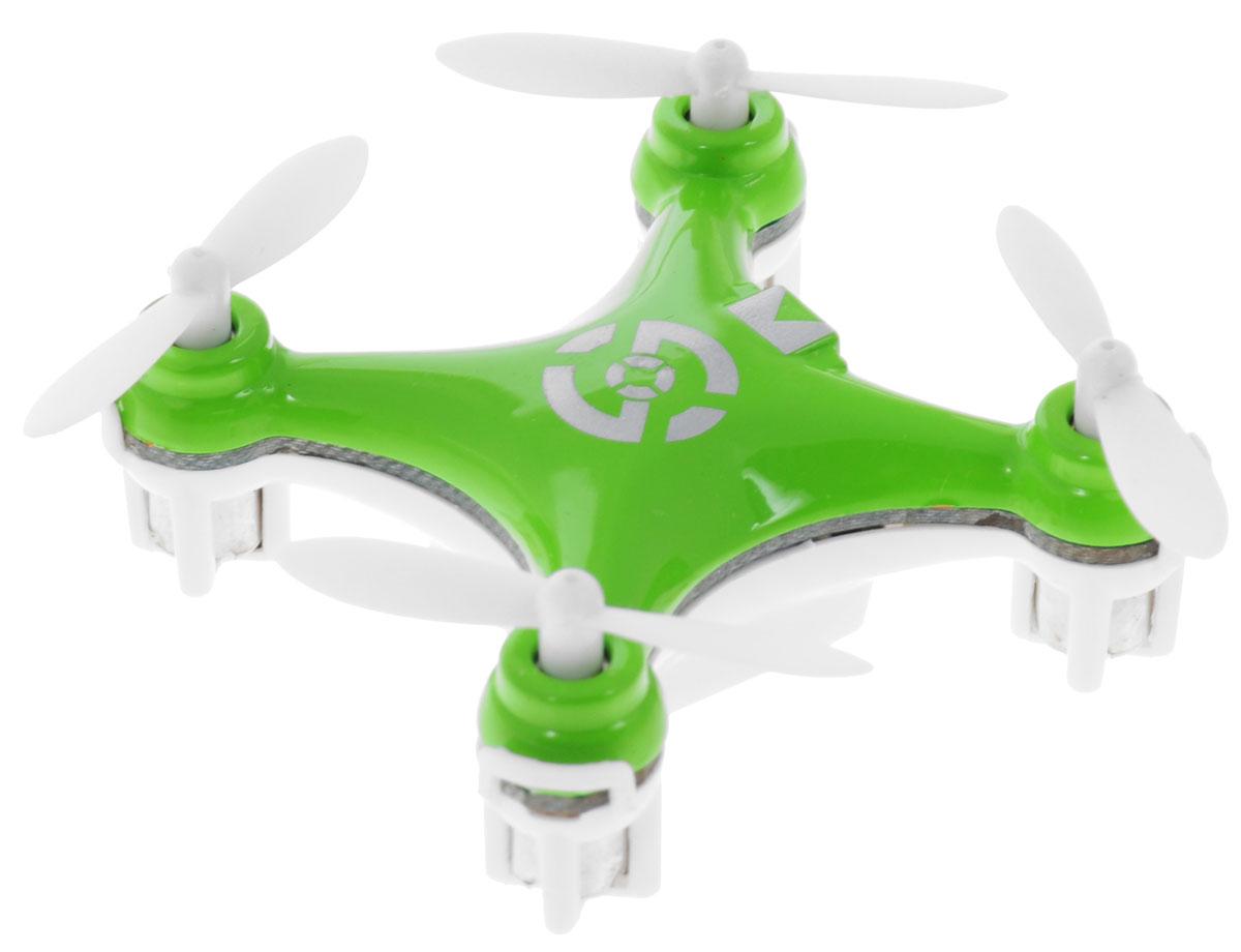 Bluesea Квадрокоптер на радиоуправлении CX-10 цвет зеленыйCX-10_3Квадрокоптер на радиоуправлении Bluesea CX-10 с четырехканальным управлением непременно понравится вашему ребенку. В модели применен гироскоп, который придает устойчивость при полете. Квадрокоптер может подниматься, опускаться, двигаться вперед и назад, а также поворачиваться на 360 градусов. Управление осуществляется с помощью пульта дистанционного управления. Управлять машиной легко, она послушно двигается в нужную сторону. Квадрокоптер оснащен профессиональным передатчиком с частотой 2,4 GHz. Прочный пластиковый корпус защитит модель от ударов и повреждений. Благодаря компактным размерам игрушка подходит для полетов в закрытых помещениях. Радиоуправляемые игрушки развивают многочисленные способности ребенка - мелкую моторику, пространственное мышление, реакцию и логику. Квадрокоптер работает от встроенного аккумулятора, который заряжается с помощью USB. Для работы пульта управления необходимо докупить 2 батарейки напряжением 1,5V типа АА (в комплект...